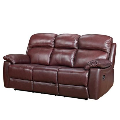 An Image of Aston Leather 3 Seater Fixed Sofa In Chestnut