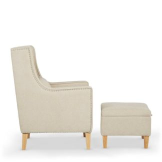 An Image of Hilton Fabric Lounge Chair With Foot Stool In Cream