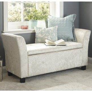 An Image of Charter Fabric Ottoman Seat In Oyster Crushed Velvet