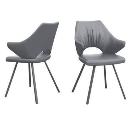 An Image of Zola Grey Faux Leather Dining Chairs In Pair