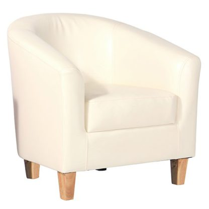 An Image of Leporis PU Leather 1 Seater Sofa In Cream