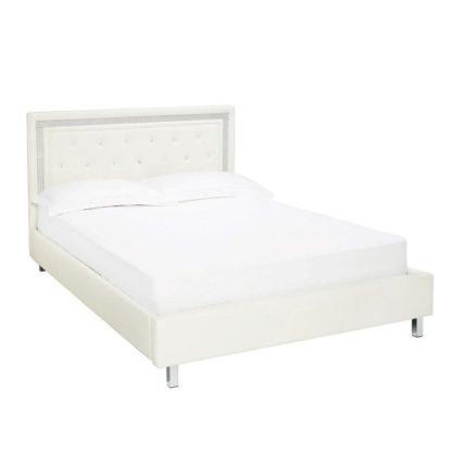 An Image of Branson Double Bed In White Faux Leather With Diamanté