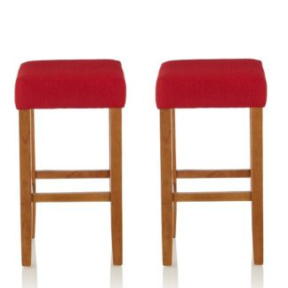 An Image of Newark Bar Stools In Red Fabric And Oak Legs In A Pair