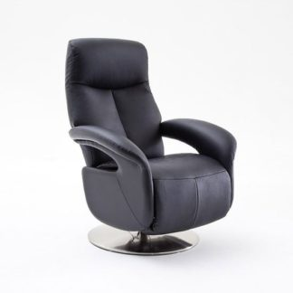 An Image of Porto Recliner Chair In Black Leather With Stainless Steel Base