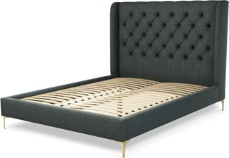 An Image of Custom MADE Romare King size Bed, Etna Grey Wool with Brass Legs