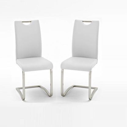 An Image of Koln Dining Chair In White Faux Leather in A Pair