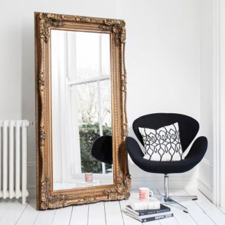 An Image of Luxembourg Baroque Style Floor Mirror Rectangular In Gold