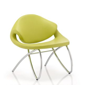 An Image of Garner Visitor Office Chair In Green Bonded Leather