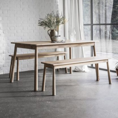 An Image of Wycombe Solid Oak Dining Bench In Taupe