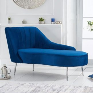 An Image of Jara Velvet Left Facing Arm Lounge Chaise In Blue