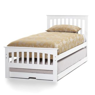 An Image of Amelia Hevea Wooden Single Bed And Guest Bed In Opal White