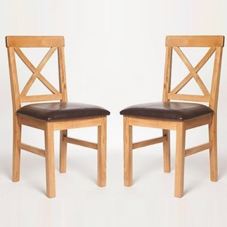 An Image of Lexington Wooden Dining Chair With Dark PU Seat In A Pair
