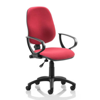 An Image of Eclipse Plus I Office Chair In Wine With Loop Arms