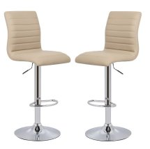 An Image of Ripple Bar Stools In Stone Faux Leather in A Pair