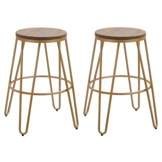 An Image of Ikon Gold Effect Hairpin Leg Bar Stool In Pair With Wooden Seat