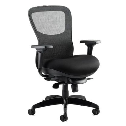 An Image of Stealth Shadow Ergo Fabric Office Chair In Black Airmesh Seat