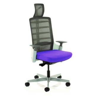 An Image of Exo Charcoal Grey Back Office Chair With Tansy Purple Seat