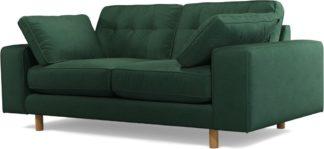 An Image of Content by Terence Conran Tobias, 2 Seater Sofa, Plush Hunter Green Velvet, Light Wood Leg