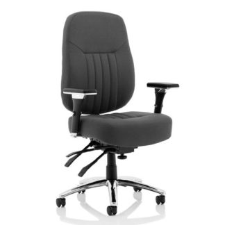 An Image of Barcelona Fabric Deluxe Office Chair In Black With Arms