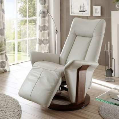 An Image of Amalia Relaxing Chair In Cream Leather And Walnut Base