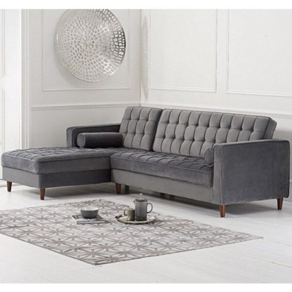 An Image of Centaurus Velvet Left Facing Chaise Sofa Bed In Grey