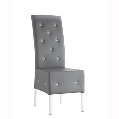 An Image of Asam Dining Chair In Grey Faux Leather With Chrome Base