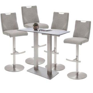 An Image of Soho Glass Bar Table With 4 Jiulia Ice Grey Fabric Stools