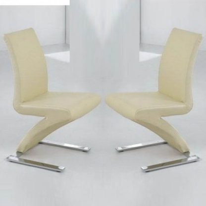 An Image of Demi Z Dining Chairs In Cream Faux Leather in A Pair