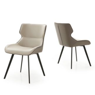 An Image of Ancha Stone And Dark Grey Dining Chairs In Pair