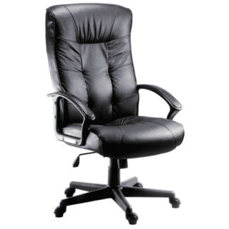 An Image of Fraser Executive High Back Office Chair In Black Faux Leather