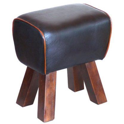 An Image of Lydia Stool In Black Leather Finish With Wooden Legs