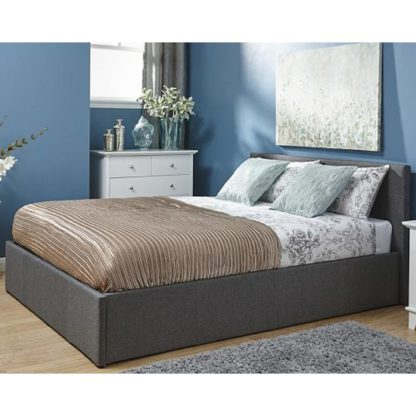An Image of End Lift Ottoman Fabric King Size Bed In Grey