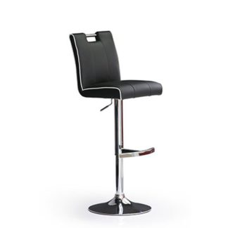 An Image of Casta Black Bar Stool In Faux Leather With Round Chrome Base
