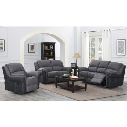 An Image of Koeia 3 Seater Sofa And 2 Armchairs Suite In Grey Fusion