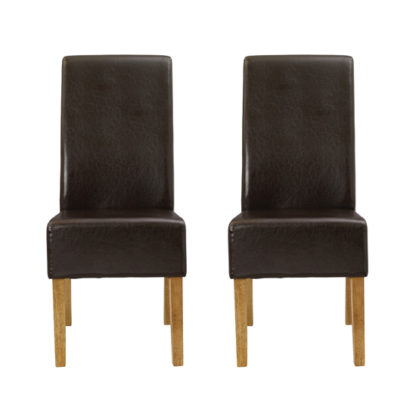 An Image of Padstow Brown Finish Dining Chairs In Pair