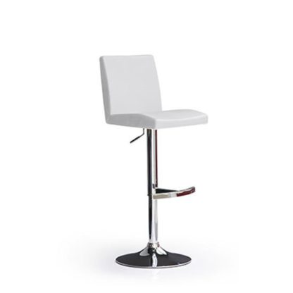 An Image of Lopes White Bar Stool In Faux Leather With Round Chrome Base