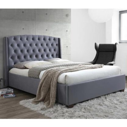 An Image of Atlas Fabric Double Bed In Grey Velvet