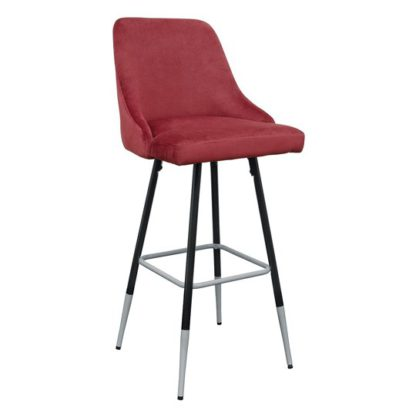 An Image of Fiona Red Fabric Bar Stool With Metal Legs