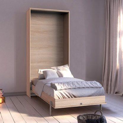 An Image of Juist Wooden Vertical Foldaway Single Bed In Planked Oak