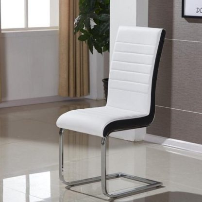 An Image of Symphony Dining Chair In White And Black PU With Chrome Base