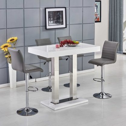 An Image of Caprice Bar Table In White Gloss With 4 Ripple Grey Bar Stools
