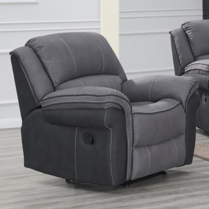 An Image of Koeia Fabric Lounge Chaise Armchair In Grey Fusion