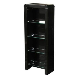 An Image of Norset CD DVD Storage Unit In Black Gloss With 4 Glass Shelf