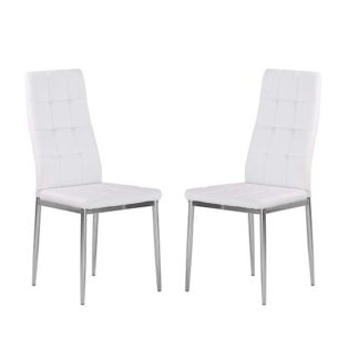 An Image of Cosmo Dining Chair In White Faux Leather in A Pair