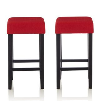 An Image of Newark Bar Stools In Red Fabric And Black Legs In A Pair