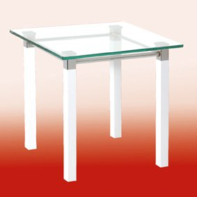 An Image of Ritmo End Table In Clear Glass Top