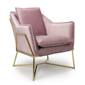An Image of Carrello Arm Chair In Brushed Velvet Pink Blush With Gold Frame