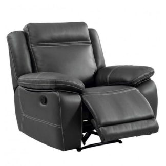 An Image of Baxter Recliner Sofa Chair In Dark Grey Leather Air Fabric
