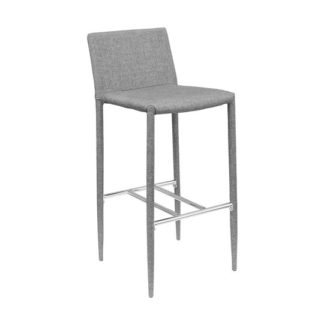 An Image of Selina Grey Fabric Bar Stool With Chrome Footrest
