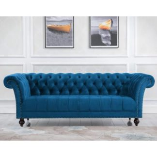 An Image of Chester Fabric 3 Seater Sofa In Midnight Blue